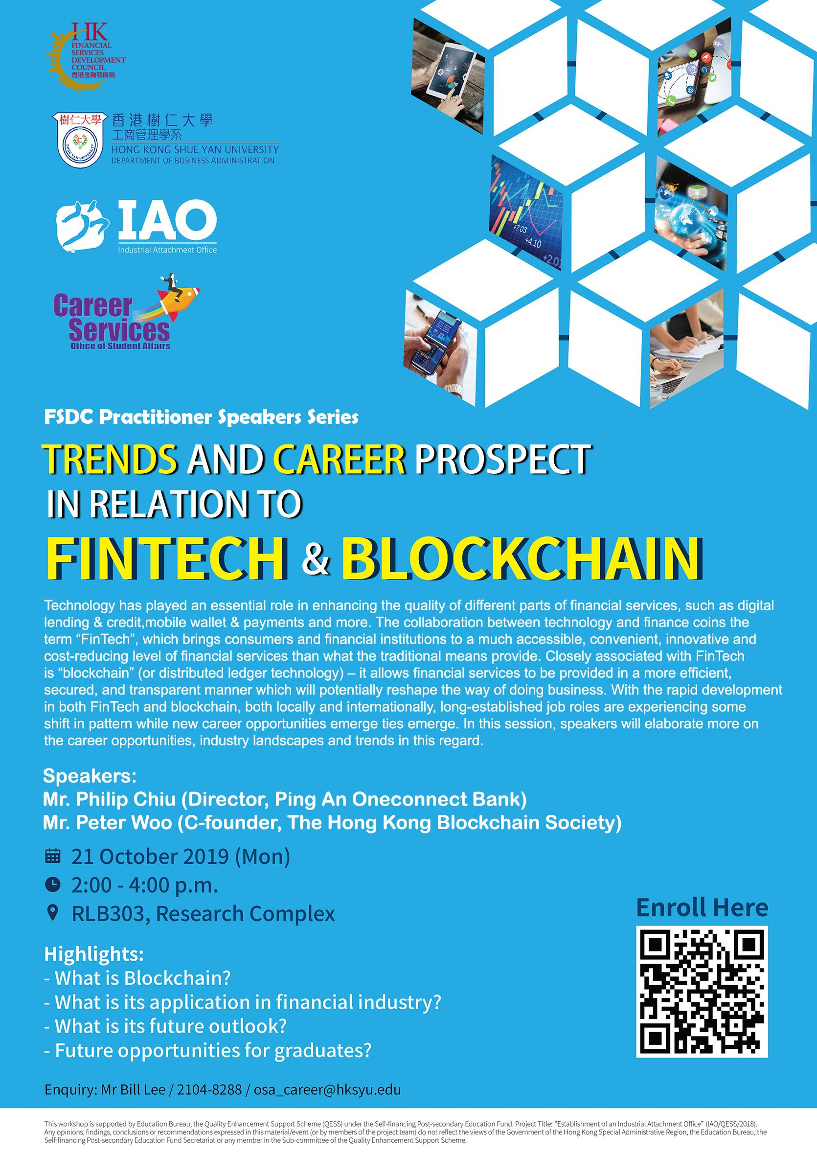 Trends and Career Prospect in relation to FinTech and Blockchain